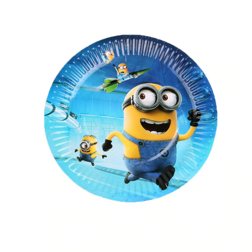 Minions Themed Blue Paper Plates For Birthday Celebrations