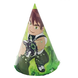 Ben 10 Theme Green Colored Kiddie Party Hats