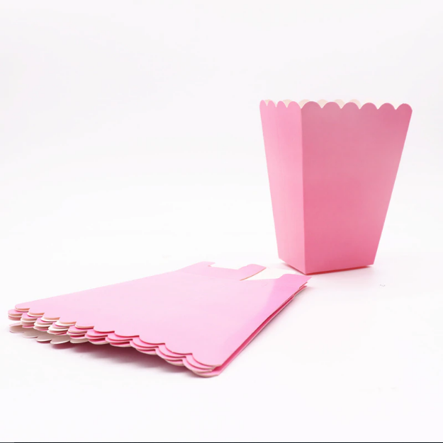 Plain Pink Kiddie Popcorn Party Box