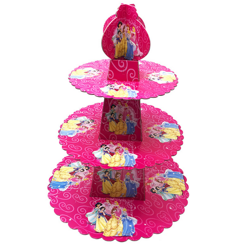 Cute Disney Princesses Featured Pink Colored Cupcake Party Stand