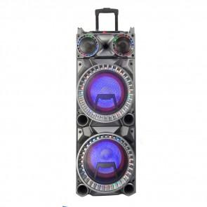"Dual 10"" Sub-Woofer Bluetooth Portable Party Speaker with Remote Control and 2 Wireless Microphones"