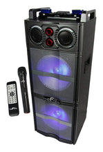 "Load image into Gallery viewer, Dual 10"" Sub-Woofer Bluetooth Portable Party Speaker with Remote Control and 2 Wireless Microphones"
