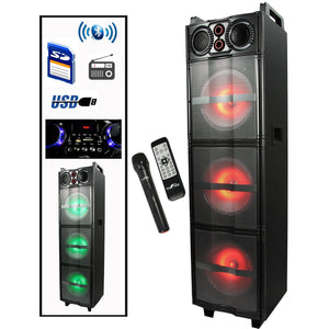 "Portable Party Speaker with 3 x 10"" Sub-Woofers, Party Lights, Bluetooth, USB/SD Input, FM Radio , Remote Control and Microphone"