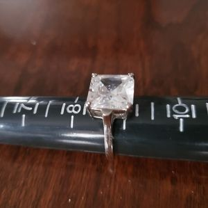 Large Clear CZ Square Ring Sz 8.75