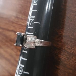 Cz Black and Clear Ring Sz 7.75
