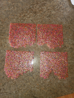 Handmade Resin 4 piece Colorful Confetti Coasters