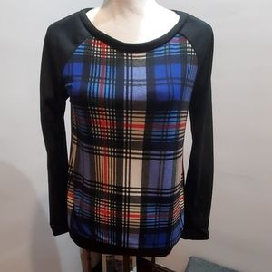 Black and Royal Blue Plaid Shirt Top