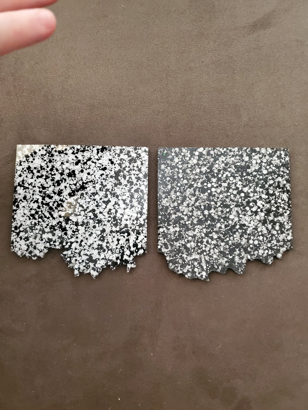 Handmade Resin Speckled Black/White 2pack Coasters
