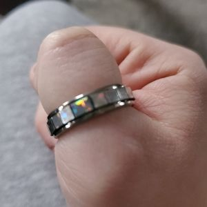 Silvery Opal Squares Stetement Ring Sz 9