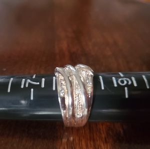 Silver and Rosegold Twirled Ring Sz 7.75