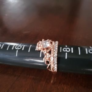 Rosegold CZ Encrusted Rhinestone Crown Ring Sz 7.5