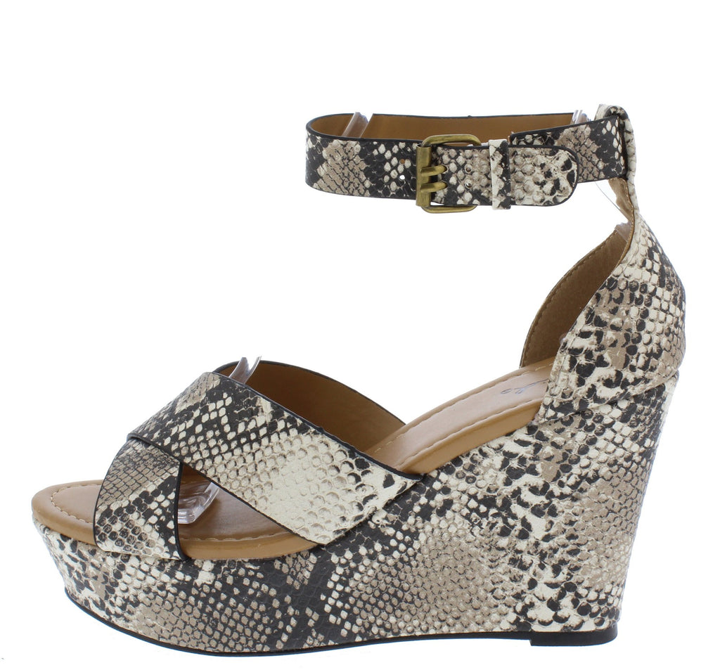 Snakeskin Strappy Wedge Heels