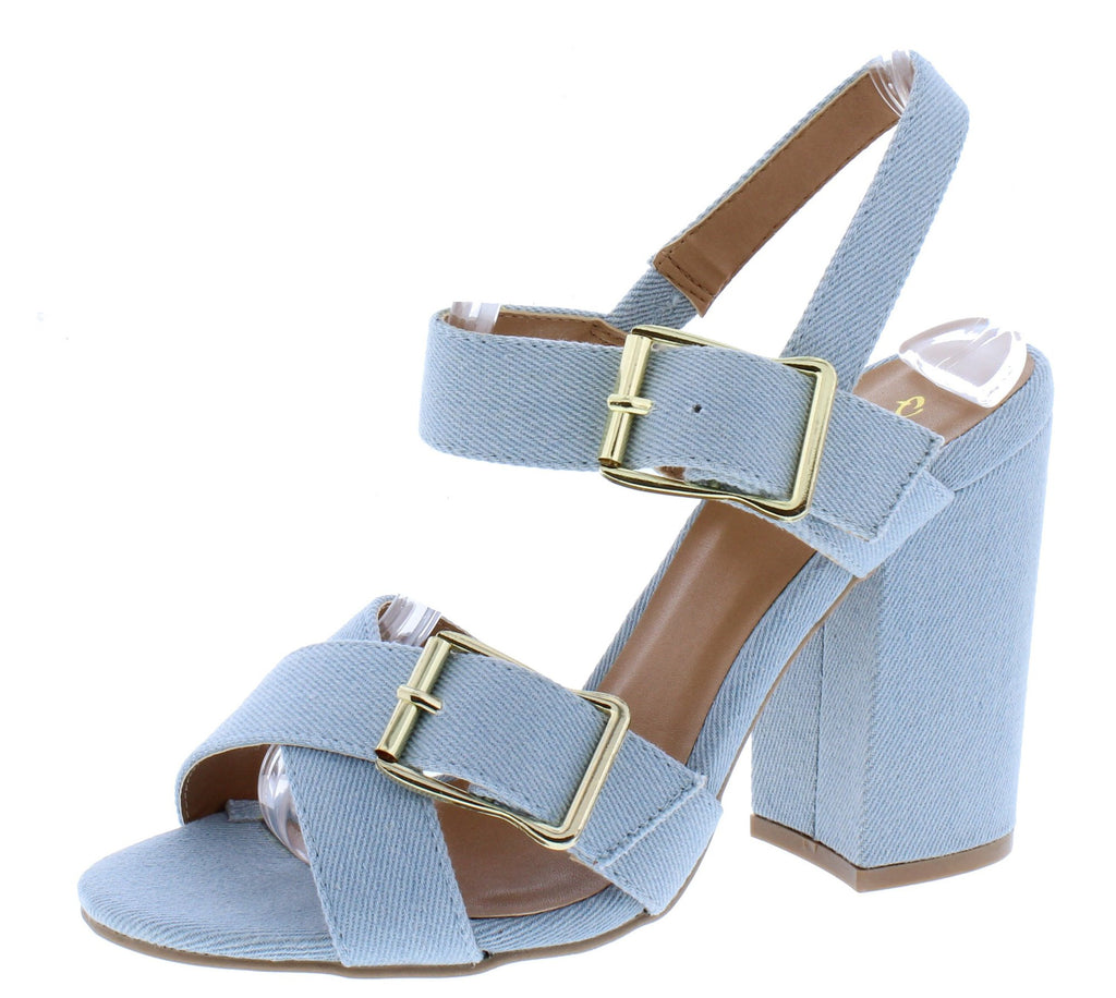 Light Denim Strappy Buckle Heels