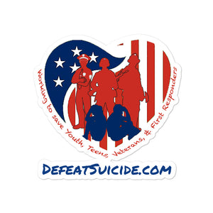 Defeat Suicide Bubble-free stickers