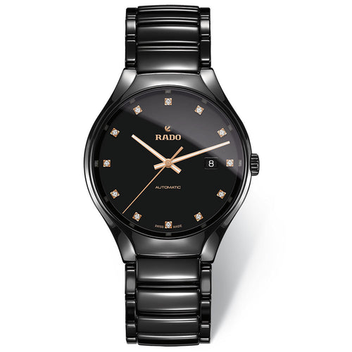 RADO True Automatic 12 Diamonds Black Mens Watch