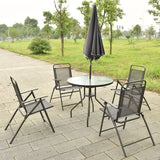 6 PCS Patio Garden Set Furniture 4 Folding Chairs