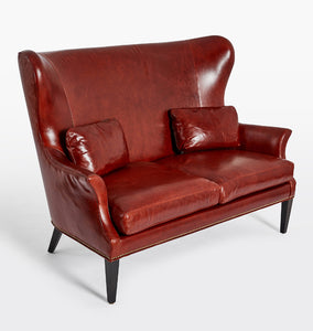 Clinton Modern Wingback Leather Settee With Nailheads
