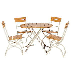 Folding Steel and Wood Bistro Patio Set