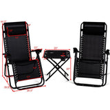 Folding 3PC Outdoor Furniture Zero Gravity