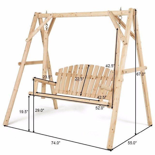 Rustic Wooden Porch Swing Bench W A Frame