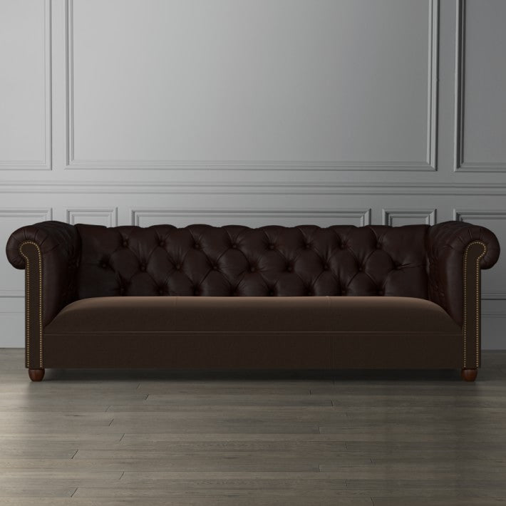 Bond Chesterfield Combo Mohair & Leather Sofa
