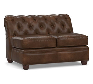 Walnut Leather Armless Loveseat