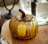 COLORED RECYCLED GLASS PUMPKIN CLOCHE - AMBER