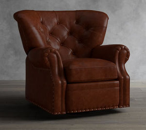 LANSING LEATHER SWIVEL RECLINER