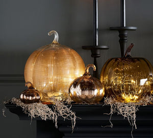 LINEN GLASS PUMPKIN CANDLE HOLDER