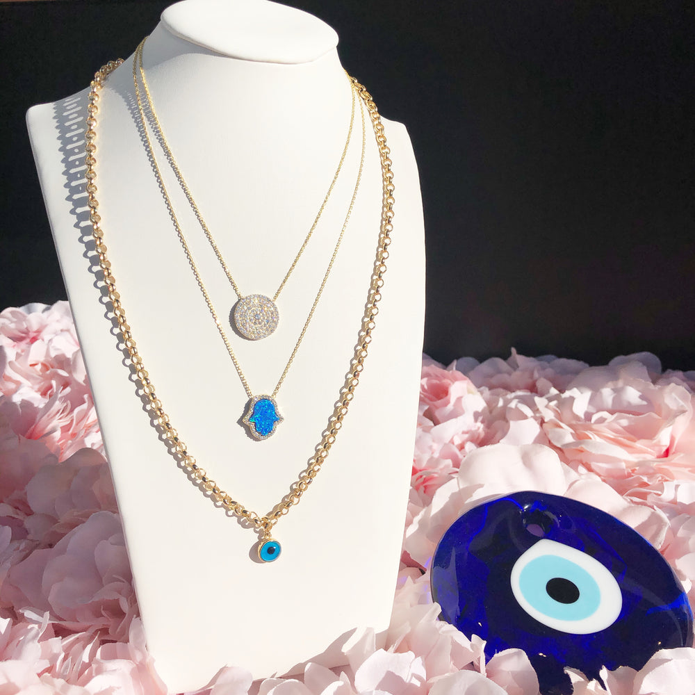 925 Sterling Silver Blue Single Eye Necklace