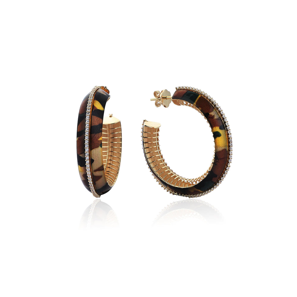 Palmo 14K Gold Camouflage Earrings with Stones
