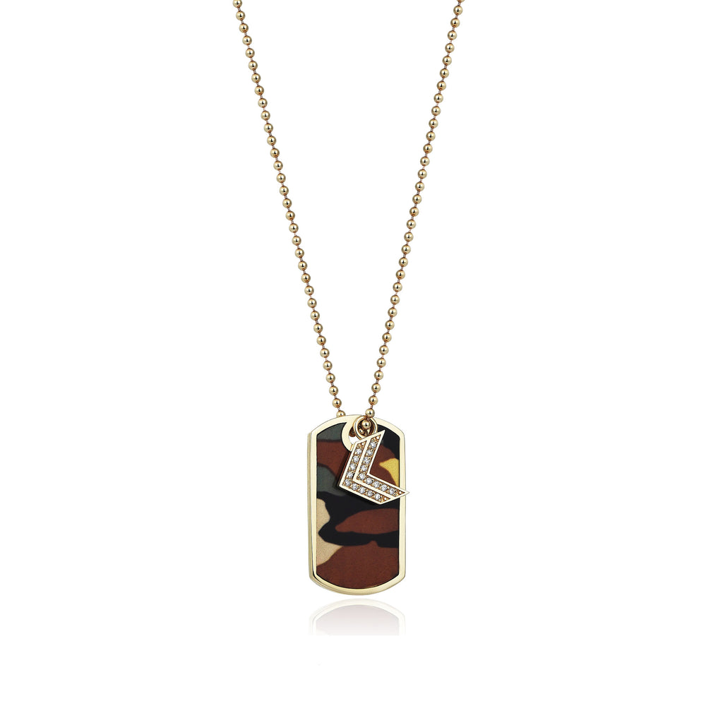 Palmo 14K Gold Camouflage Tag Necklace