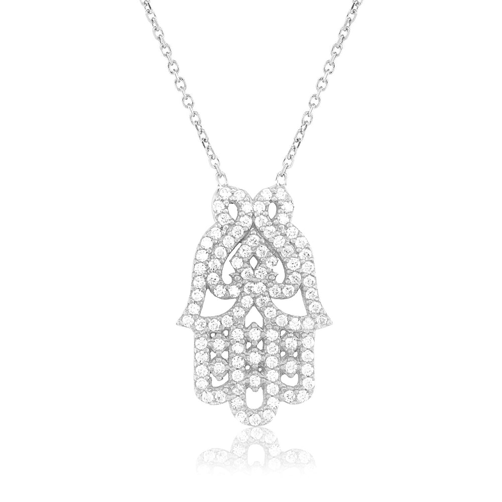 Palmo Sterling Silver Hamsa Necklace PLM1027N