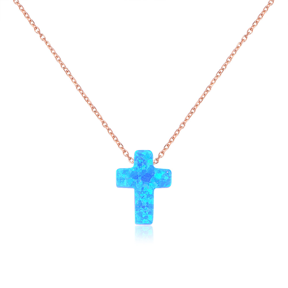 Palmo Sterling Silver Blue Mother of Pearl Cross Necklace PLM1679N