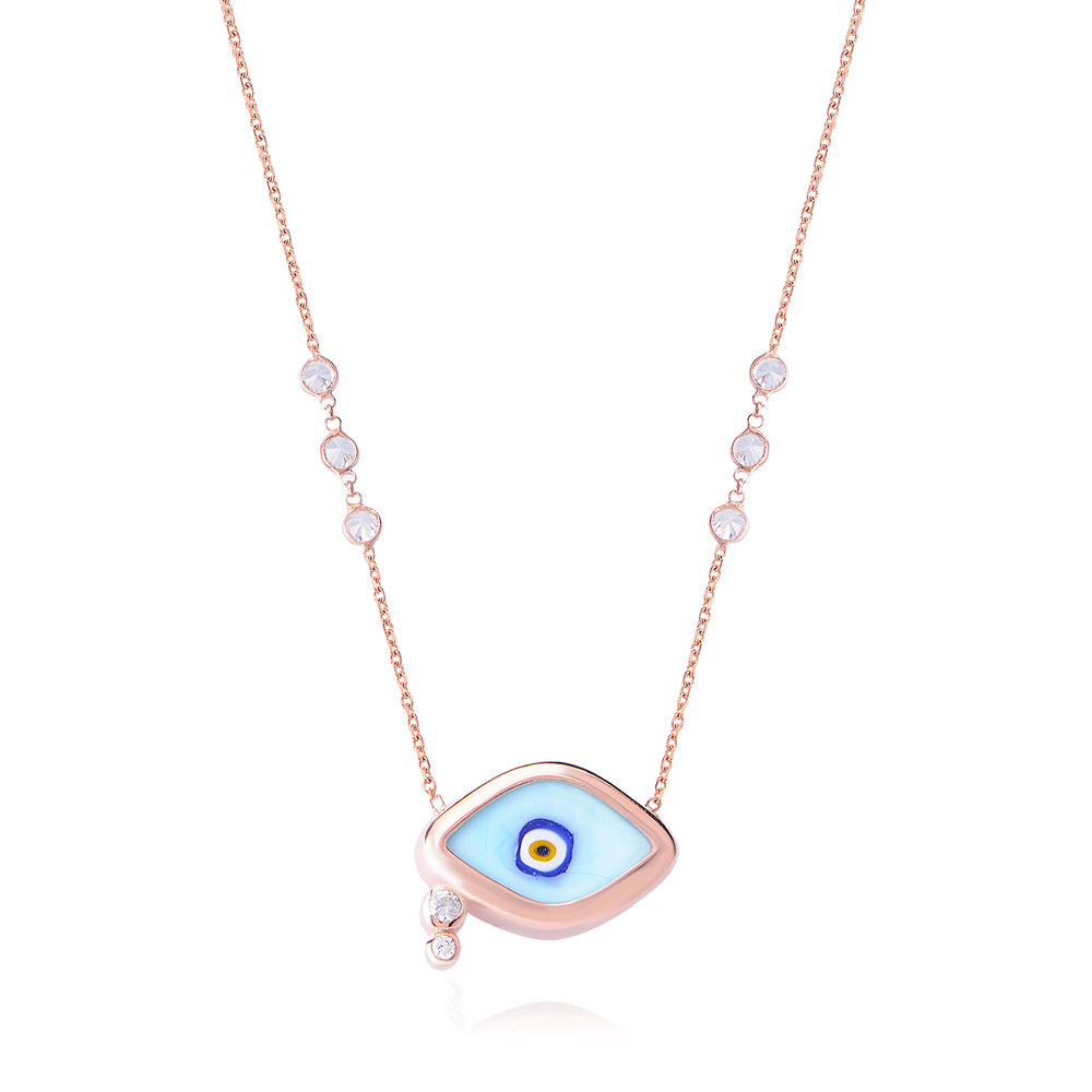 Palmo Sterling Silver Evil Eye Necklace PLM1241N
