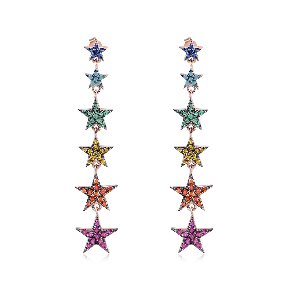 Palmo 18kt Rose Gold Plated Rainbow Star Earrings