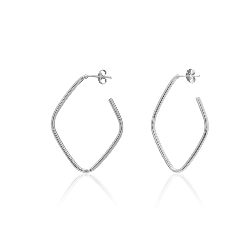 Palmo Sterling Silver Hoop Medium Earrings PLM1668E30S