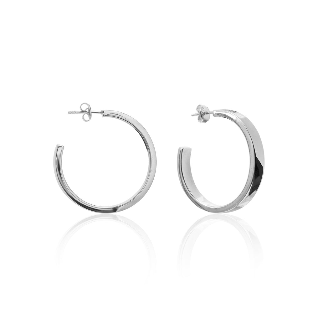 Palmo Sterling Silver Hoop Medium Earrings PLM1668E28