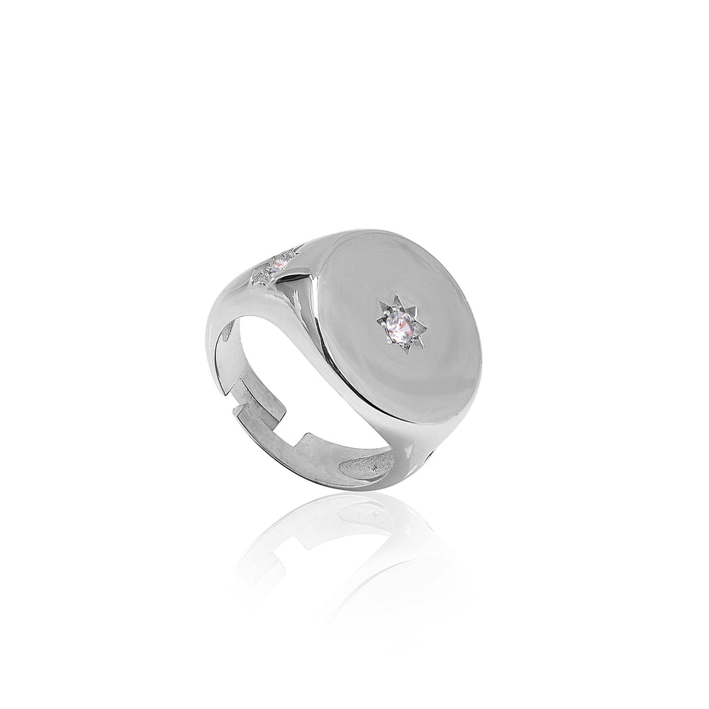 Palmo Sterling Silver Adjustable Star Ring PLM1738R