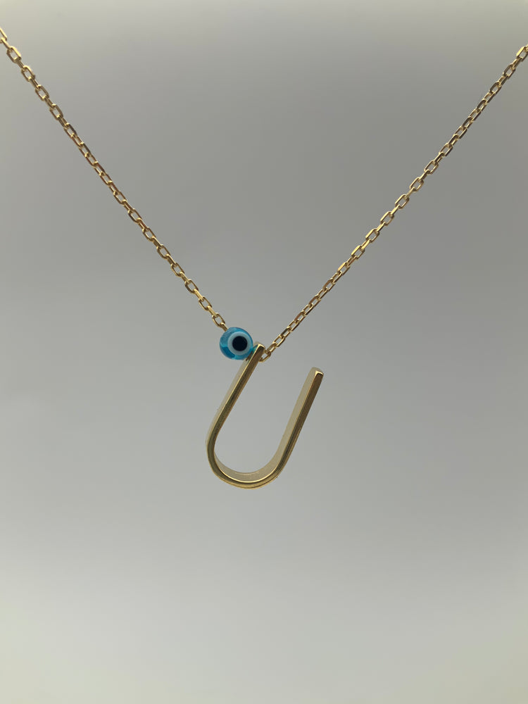 925 Sterling Silver Initial Letter Necklace with Evil Eye