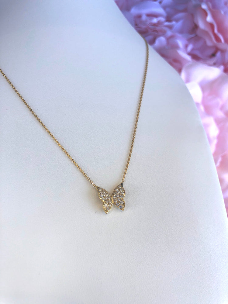 925 Sterling Silver Butterfly Necklace with Cubic Zirconias