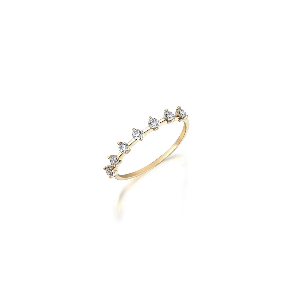 Palmo 14K Gold Elegant Ring with Seven Zirconias