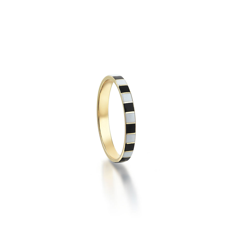Palmo 14K Gold Piano Enamel Ring