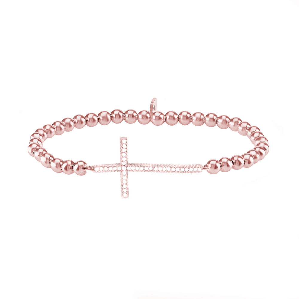 Palmo 18kt Rose Gold Plated Beaded Cross Bracelet
