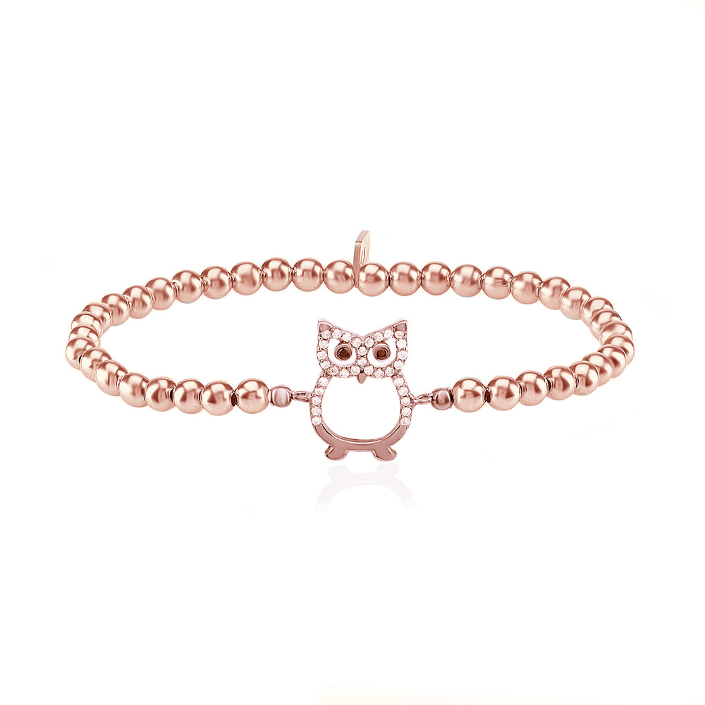 Palmo 18kt Rose Gold Plated Beaded Owl Bracelet