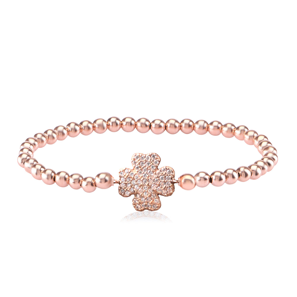 Palmo 18kt Rose Gold Plated Beaded Clover Bracelet