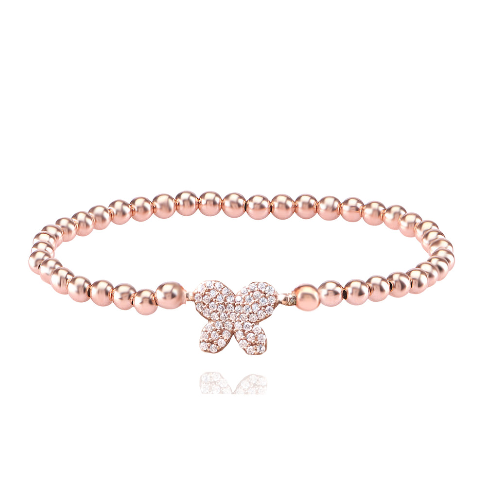 Palmo 18kt Rose Gold Plated Beaded Butterfly Bracelet