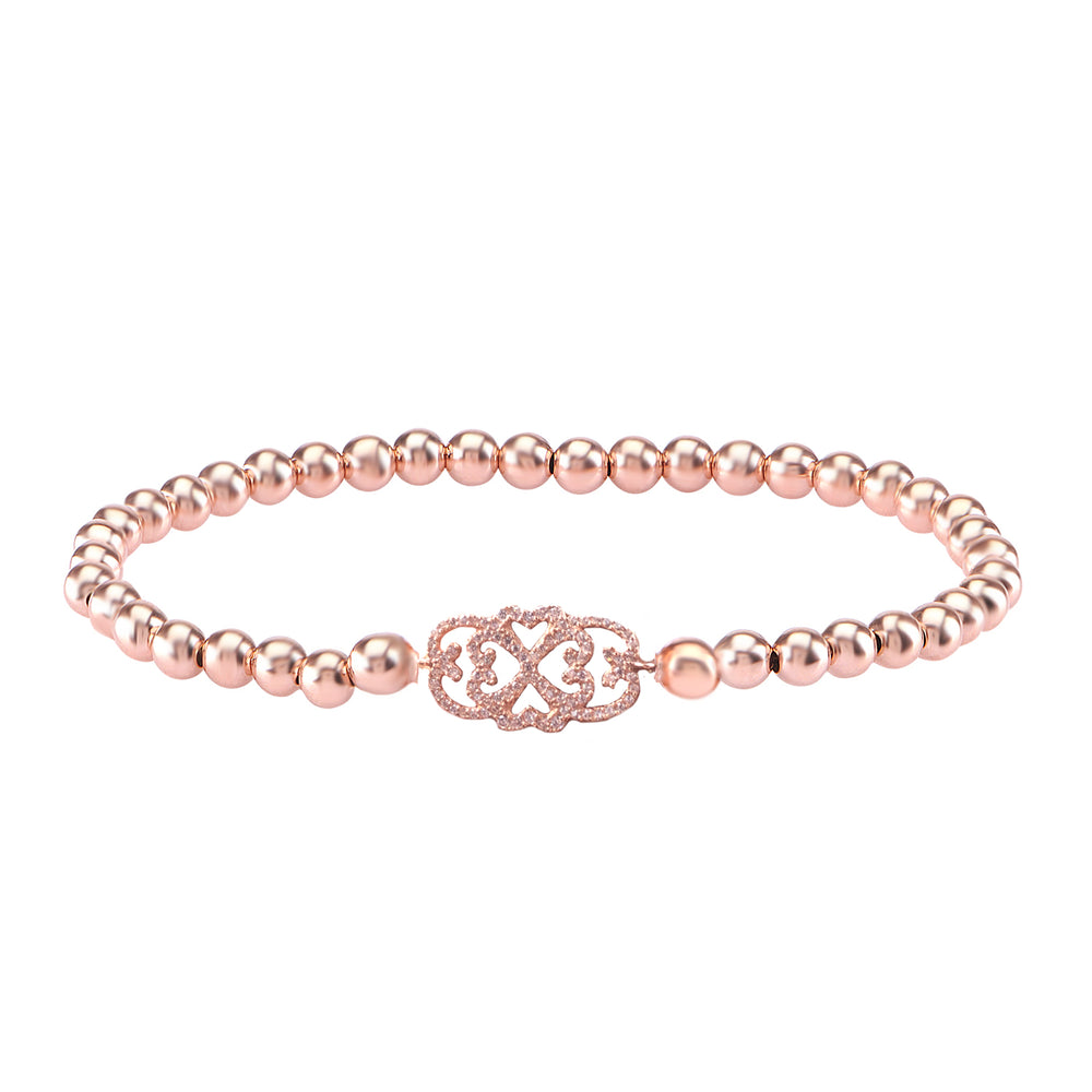 Palmo 18kt Rose Gold Plated Beaded Elegant Bracelet