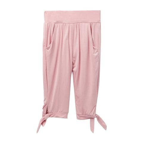 Little girls mauve, tie waist capris
