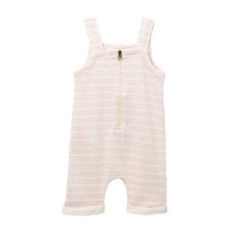 Pink and white stripe, zipper front baby overalls.